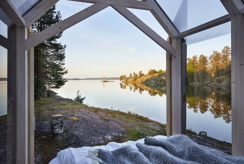 View from inside a glass cabin at Henriksholm, West Sweden