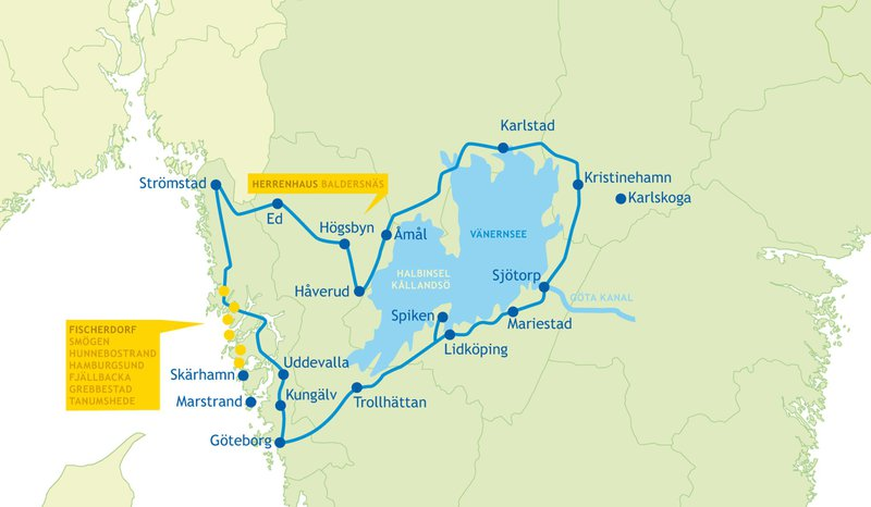 Karte unserer Rundreise durch Westschweden