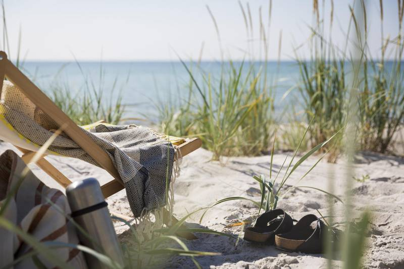 Sun chair and sandals on the beach in Falsterbo, Skåne