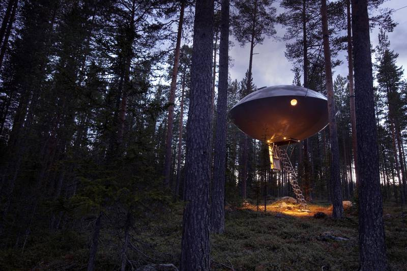 UFO room at Treehotel in Harads, Swedish Lapland